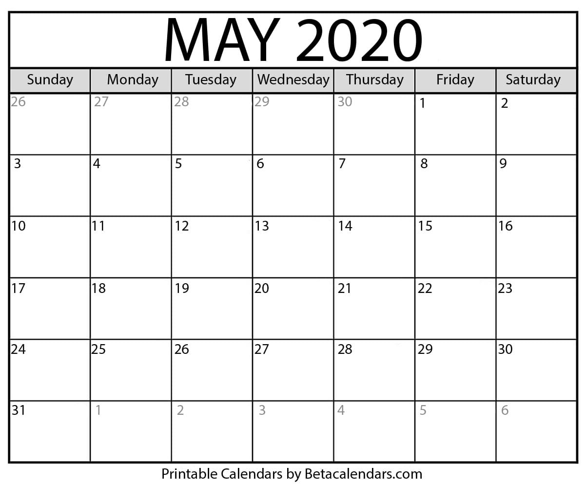 Blank May 2020 Calendar Printable Beta Calendars