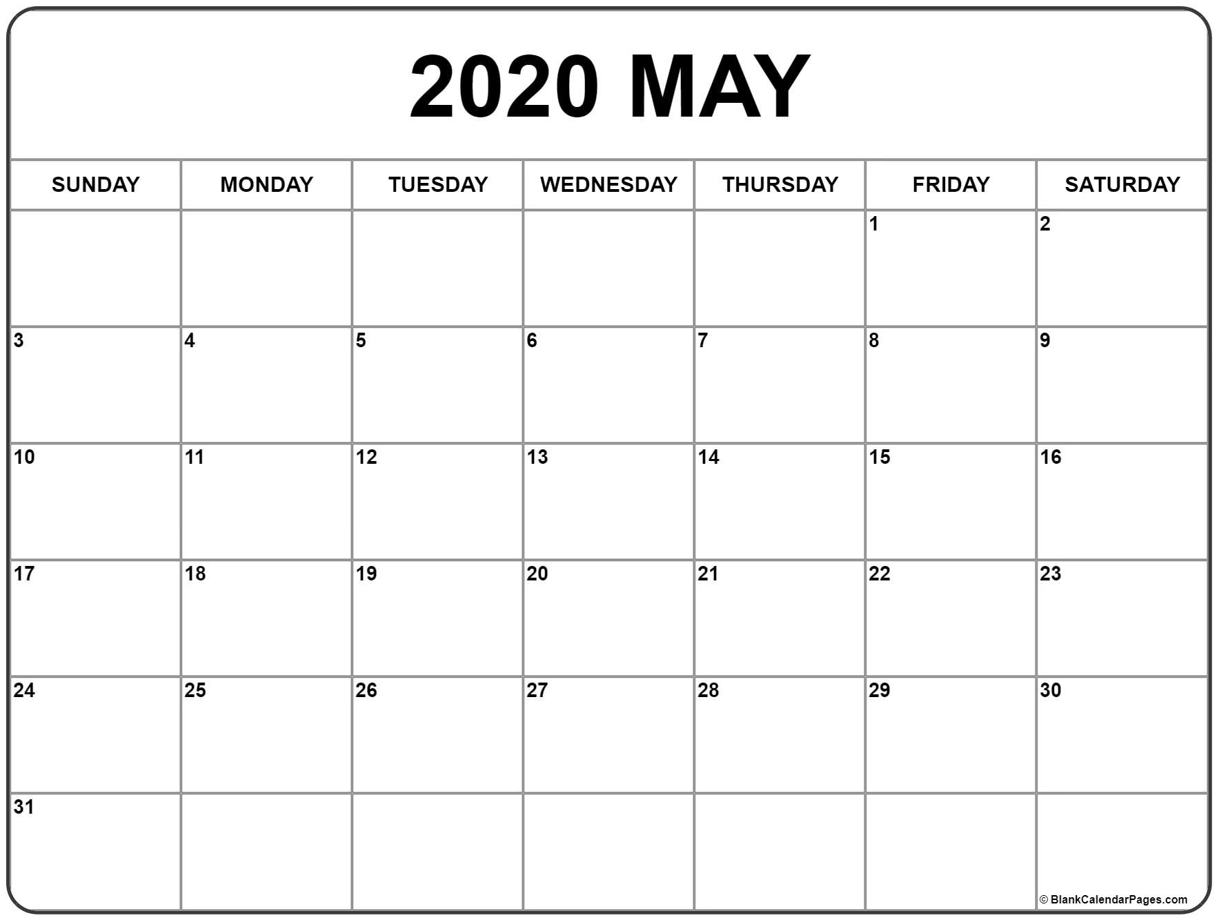 May 2020 Calendar Free Printable Monthly Calendars