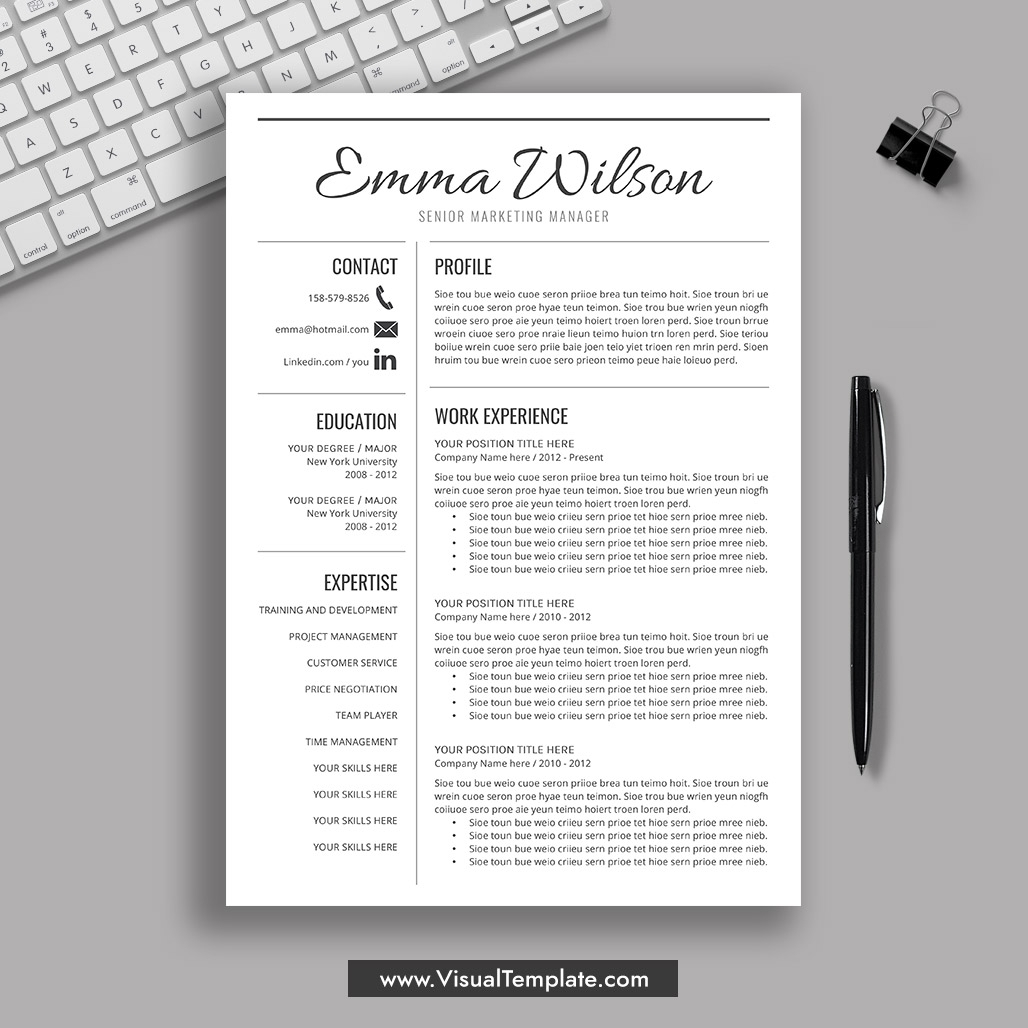 2019-2020 Pre-Formatted Resume Template With Resume Icons, Fonts And  Editing Guide. Unlimited Digital Instant Download Resume Template. Fully