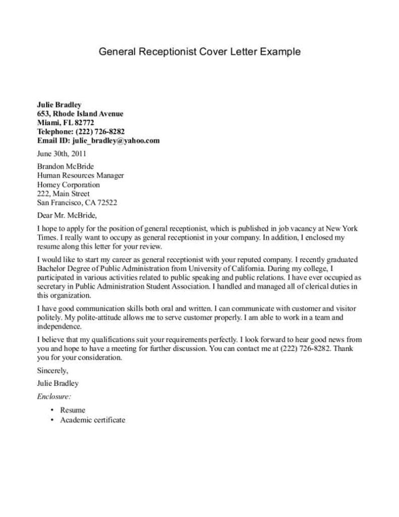 26+ Medical Receptionist Cover Letter . Medical Receptionist
