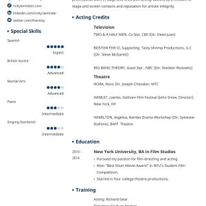 Acting Resume Template [An Actor Resume Example & Tips]