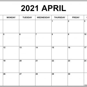 April 2021 Calendar | Free Printable Monthly Calendars