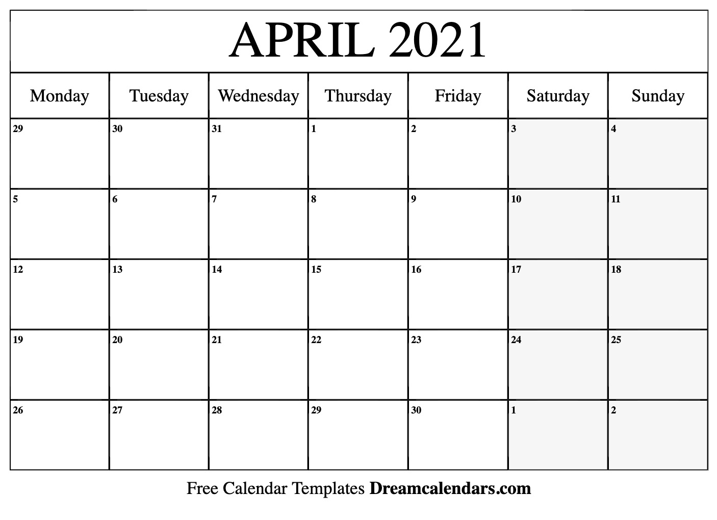 April 2021 Printable Calendar | Dream Calendars