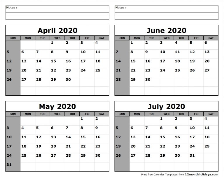 April-May-June-July-2020-Calendar-To-Print - All 12 Month