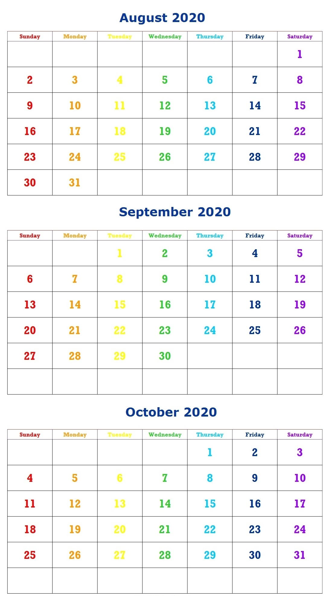 August 2020 Calendar – Printable Pdf, Word, Excel Monthly