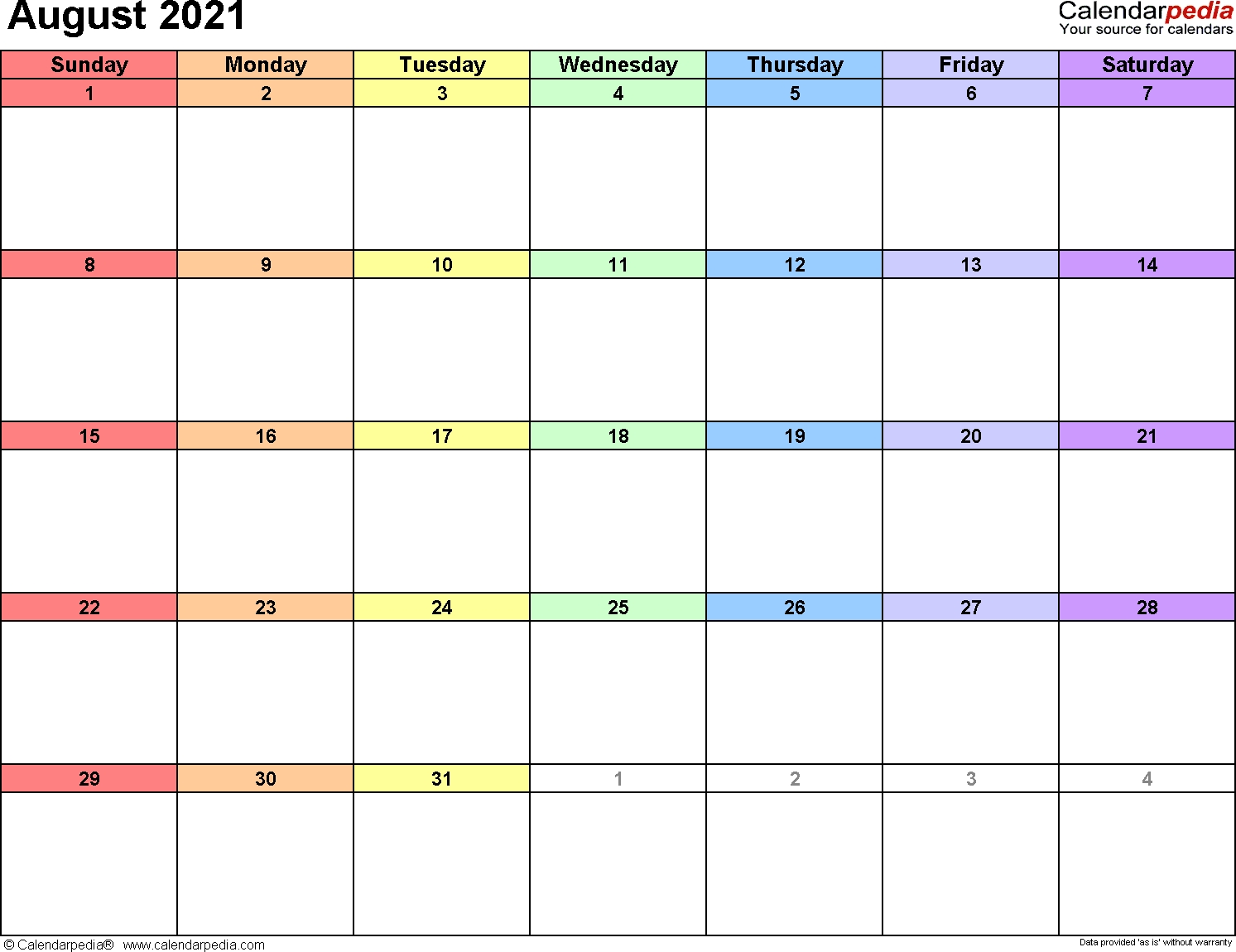 August 2021 Calendars For Word, Excel & Pdf