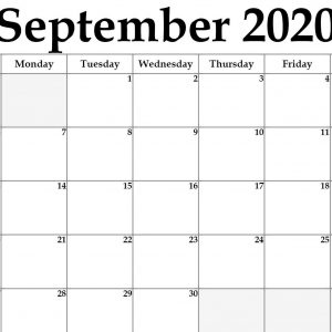 Awesome September 2020 Calendar Pdf, Word, Excel Printable