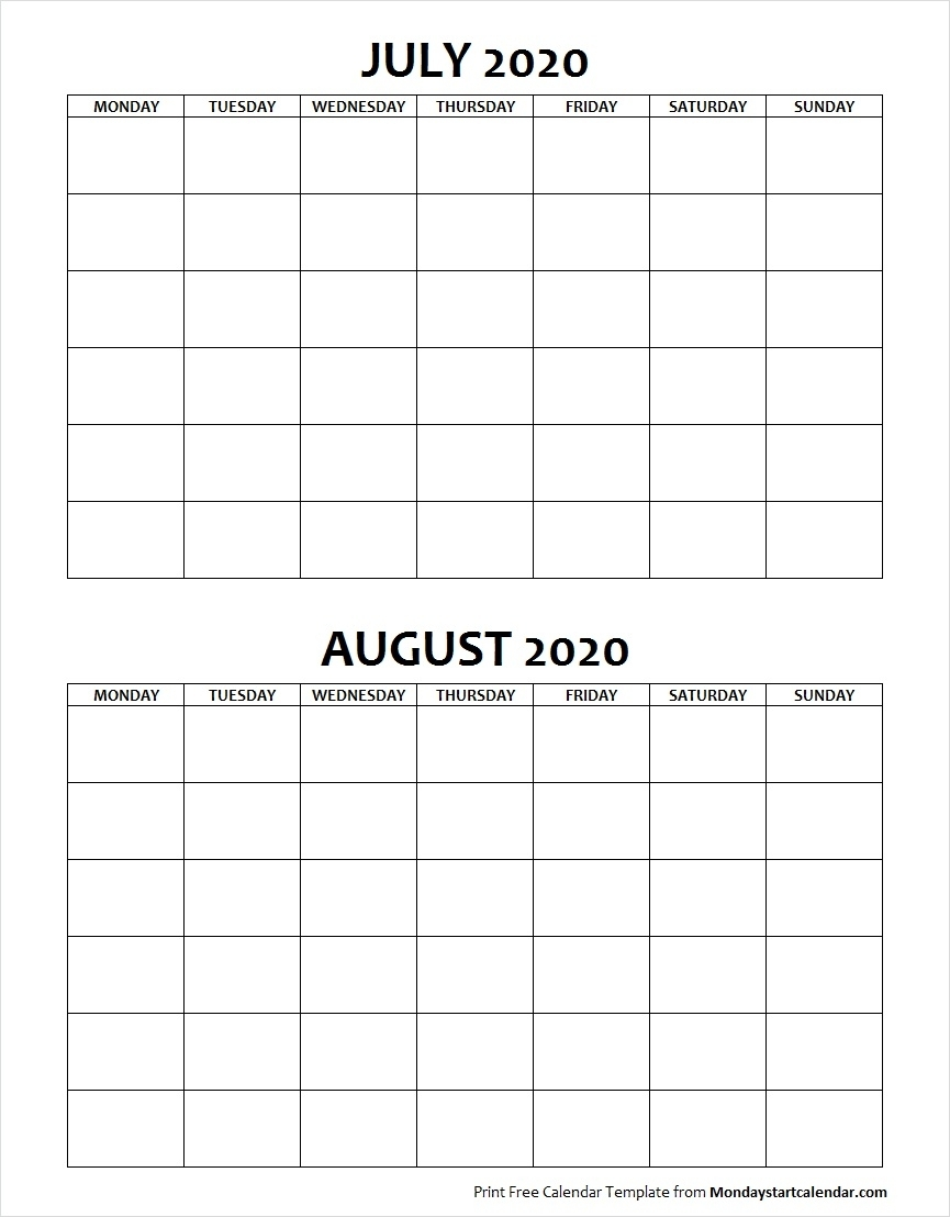 Blank July August 2020 Calendar Monday Start | Two Months