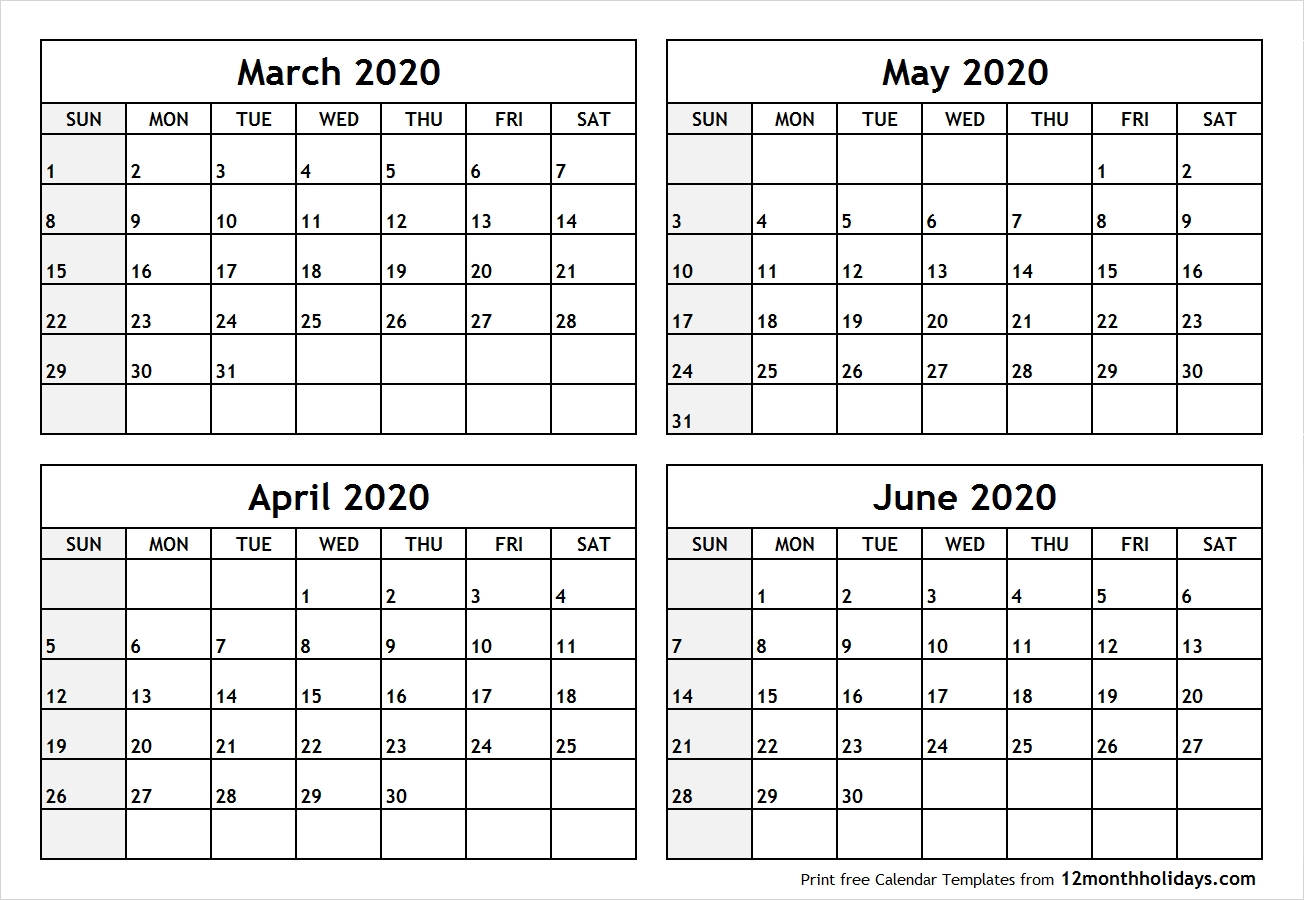 Calendar-March-To-June-2020-Printable - All 12 Month