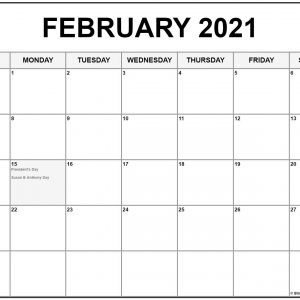 Collection Of February 2021 Calendars With Holidays
