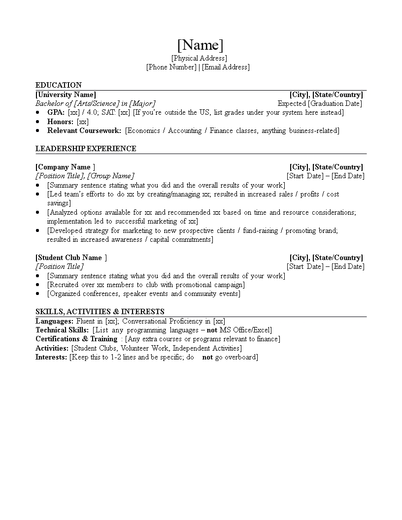 Entry Level Investment Banking Resume | Templates At