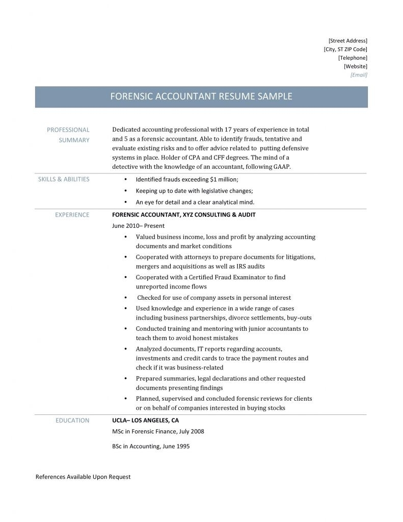 Forensic Accountant Resume Samples Templates And Job