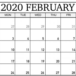 Free Download February 2020 Calendar Printable Pdf Word