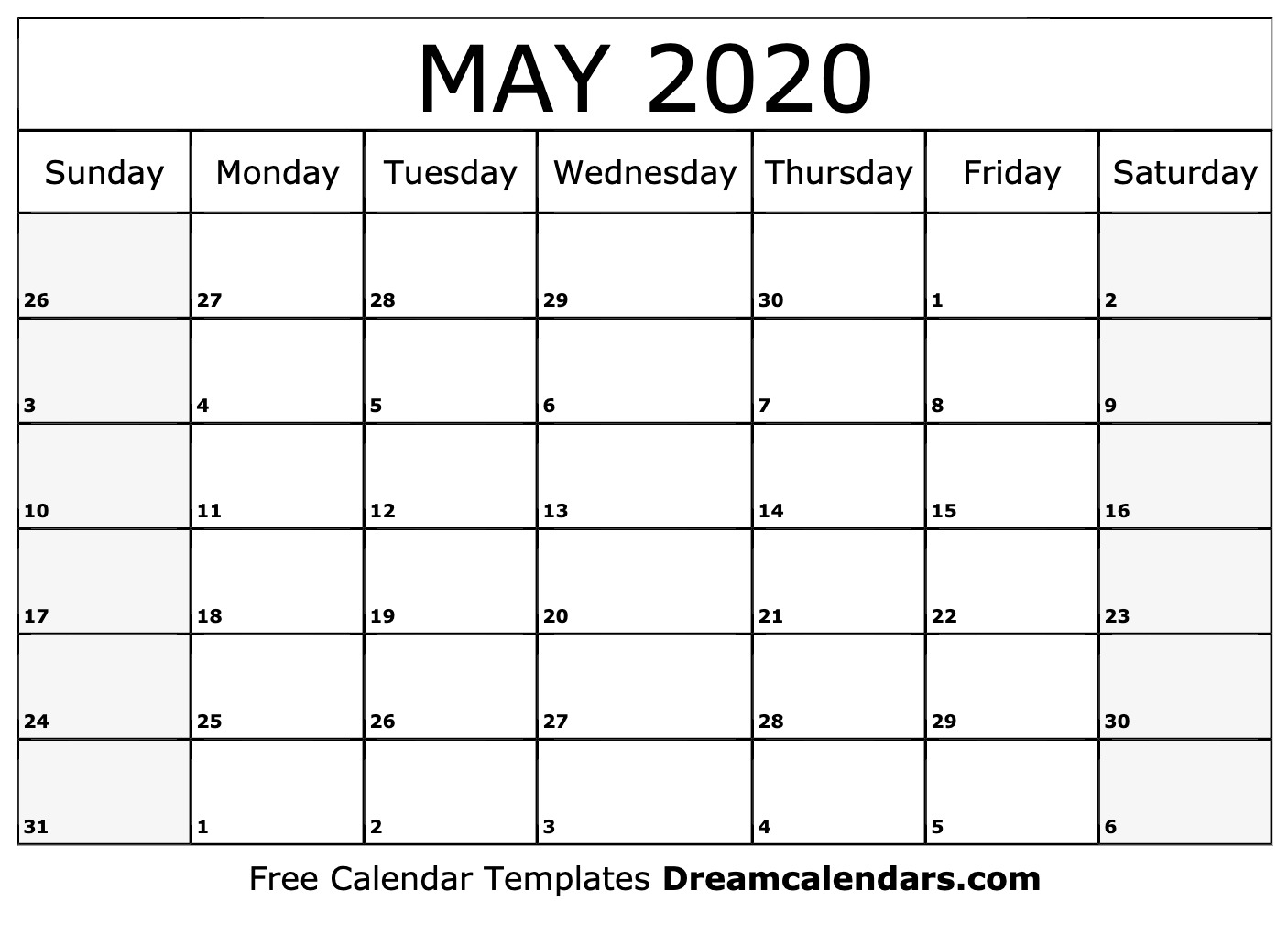Free May 2020 Printable Calendar | Dream Calendars