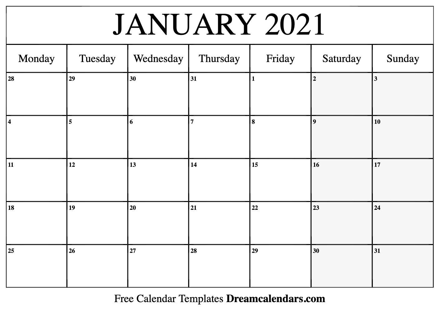 January 2021 Printable Calendar | Dream Calendars