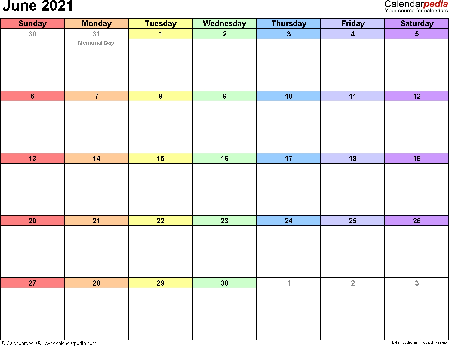 June 2021 Calendars For Word, Excel & Pdf