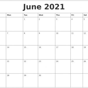 June 2021 Editable Calendar Template