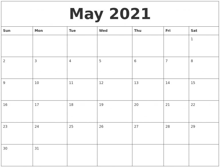 May 2021 Free Downloadable Calendar
