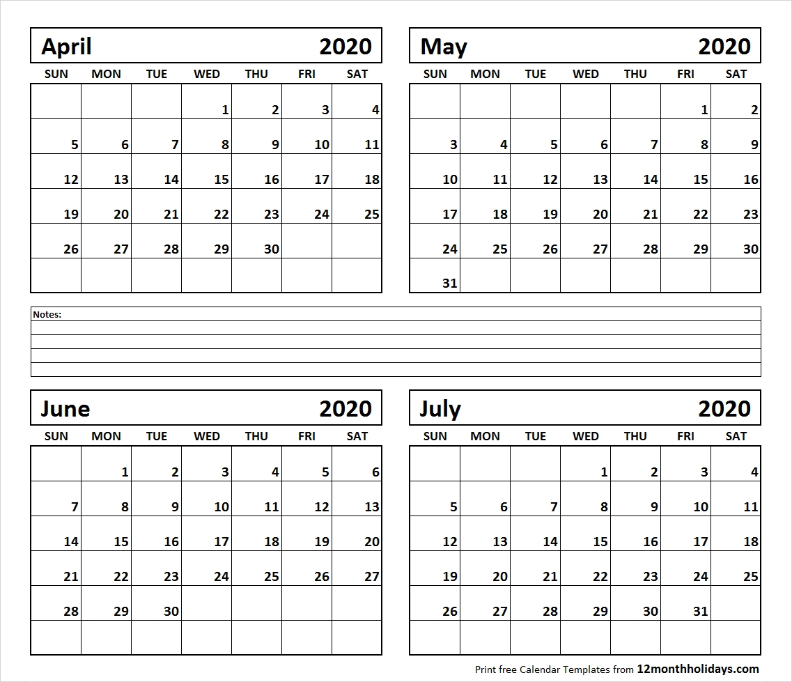 Printable Blank Four Month April May June July 2020 Calendar
