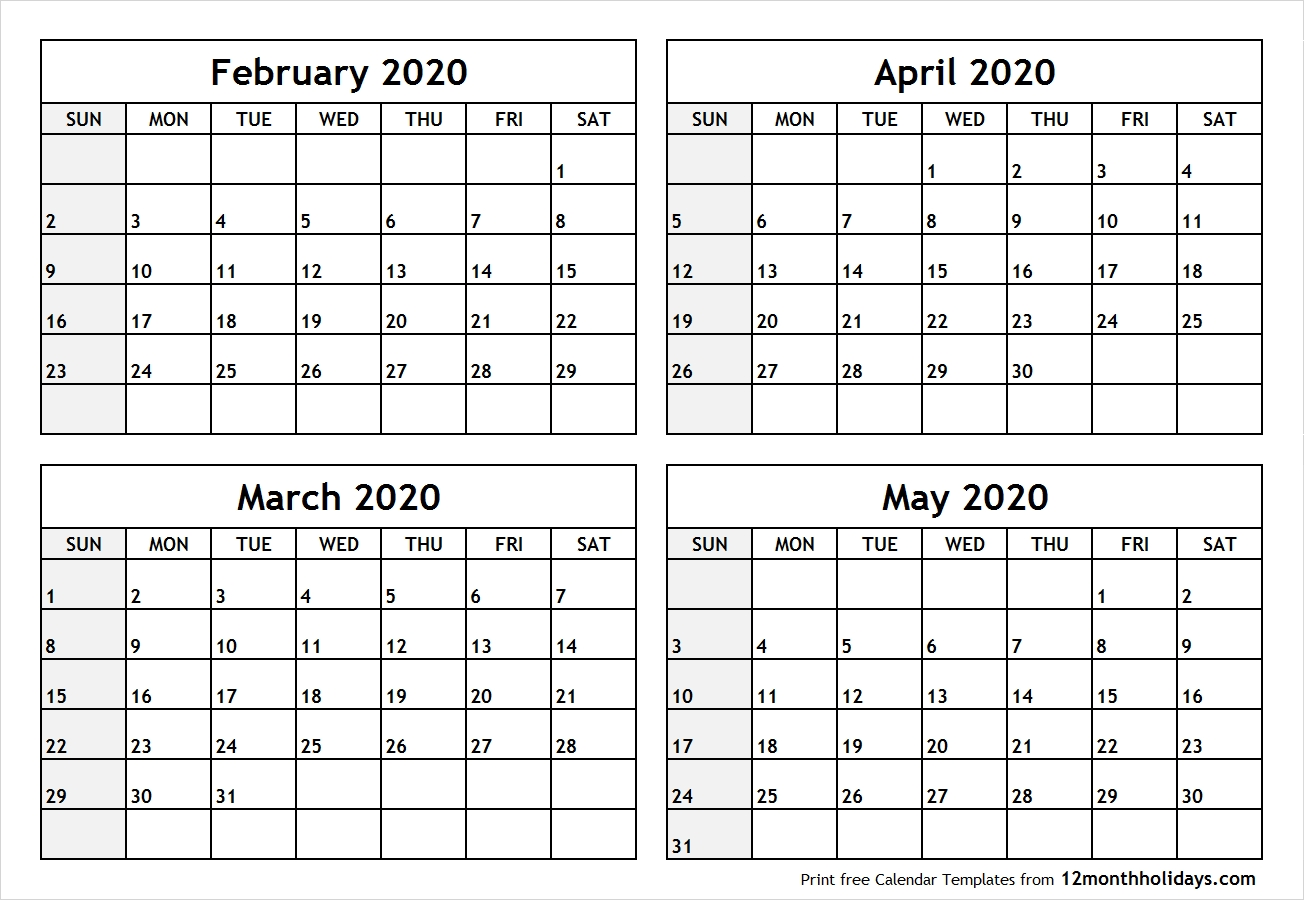 Printable Blank Four Month February March April May 2020