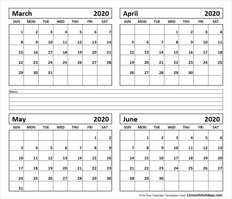 Printable Blank Four Month March April May June 2020