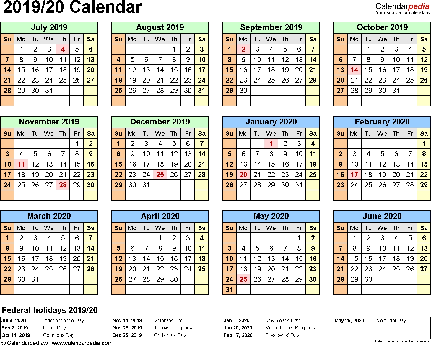 Split Year Calendars 2019/2020 (July To June) - Excel Templates