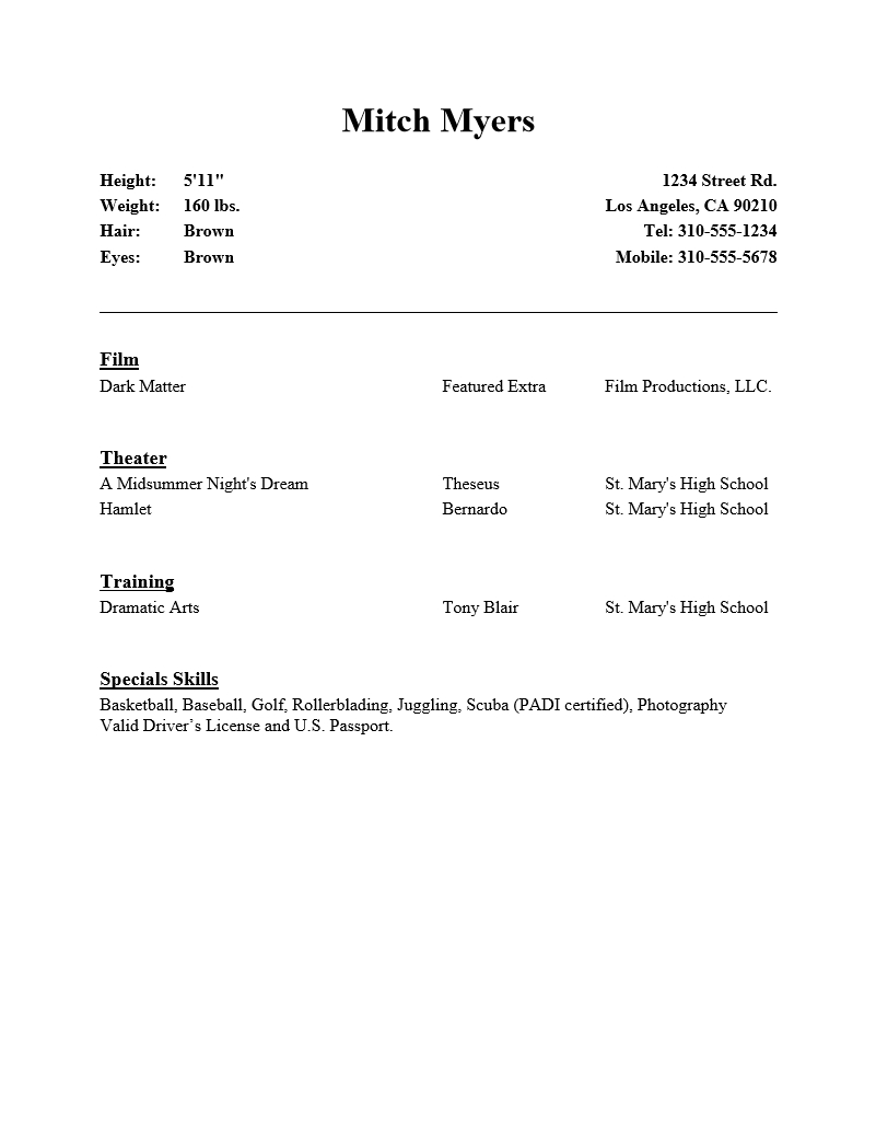 Acting Resume Template : Resume Templates