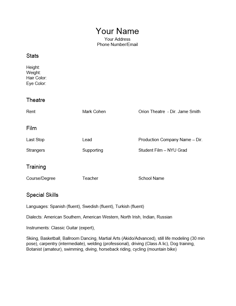 Acting Resumes Templates No Experience | Free Resume Templates