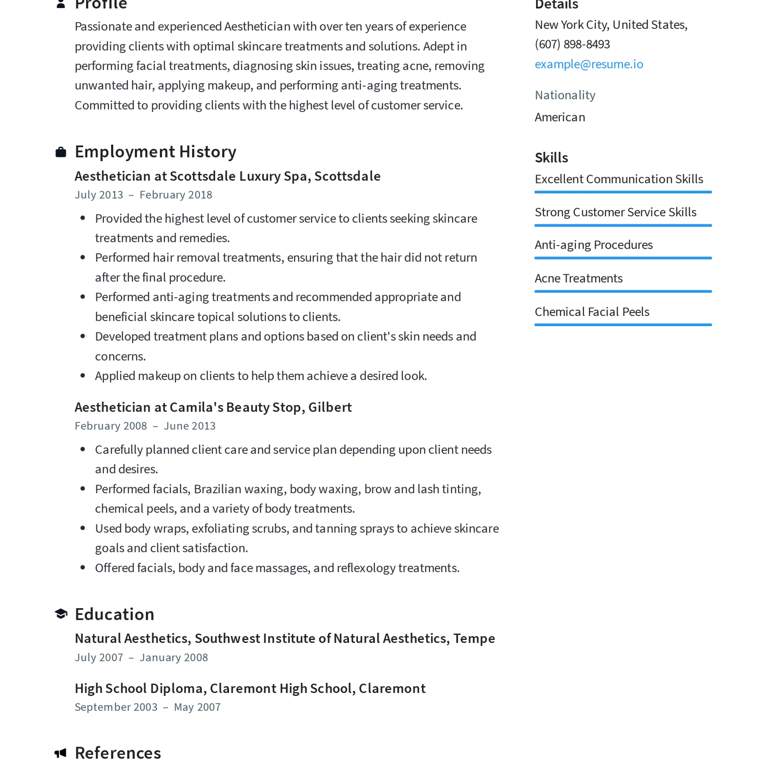 Aesthetician Resume Templates 2019 (Free Download) · Resume.io