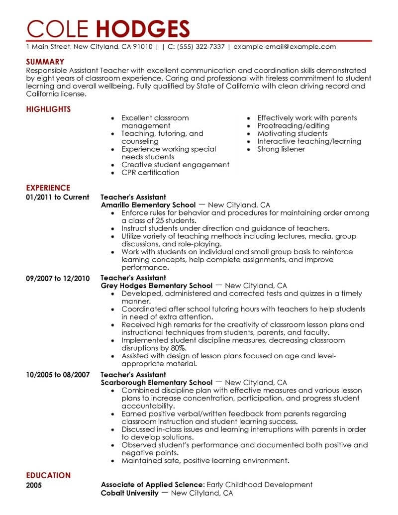 Best Assistant Teacher Resume Example | Livecareer