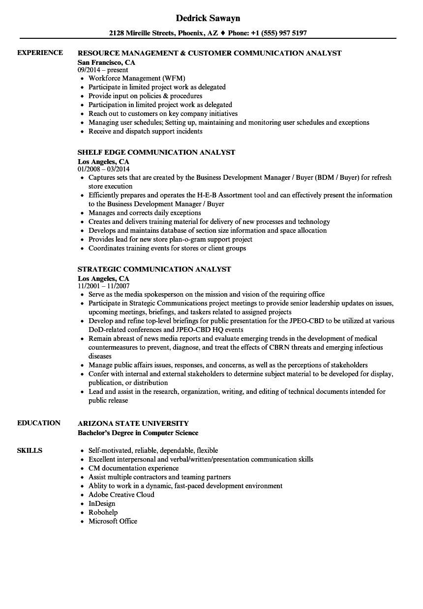 Communication Analyst Resume Samples | Velvet Jobs