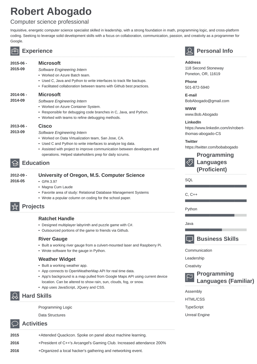 Computer Science (Cs) Resume Example (Guide & Template)