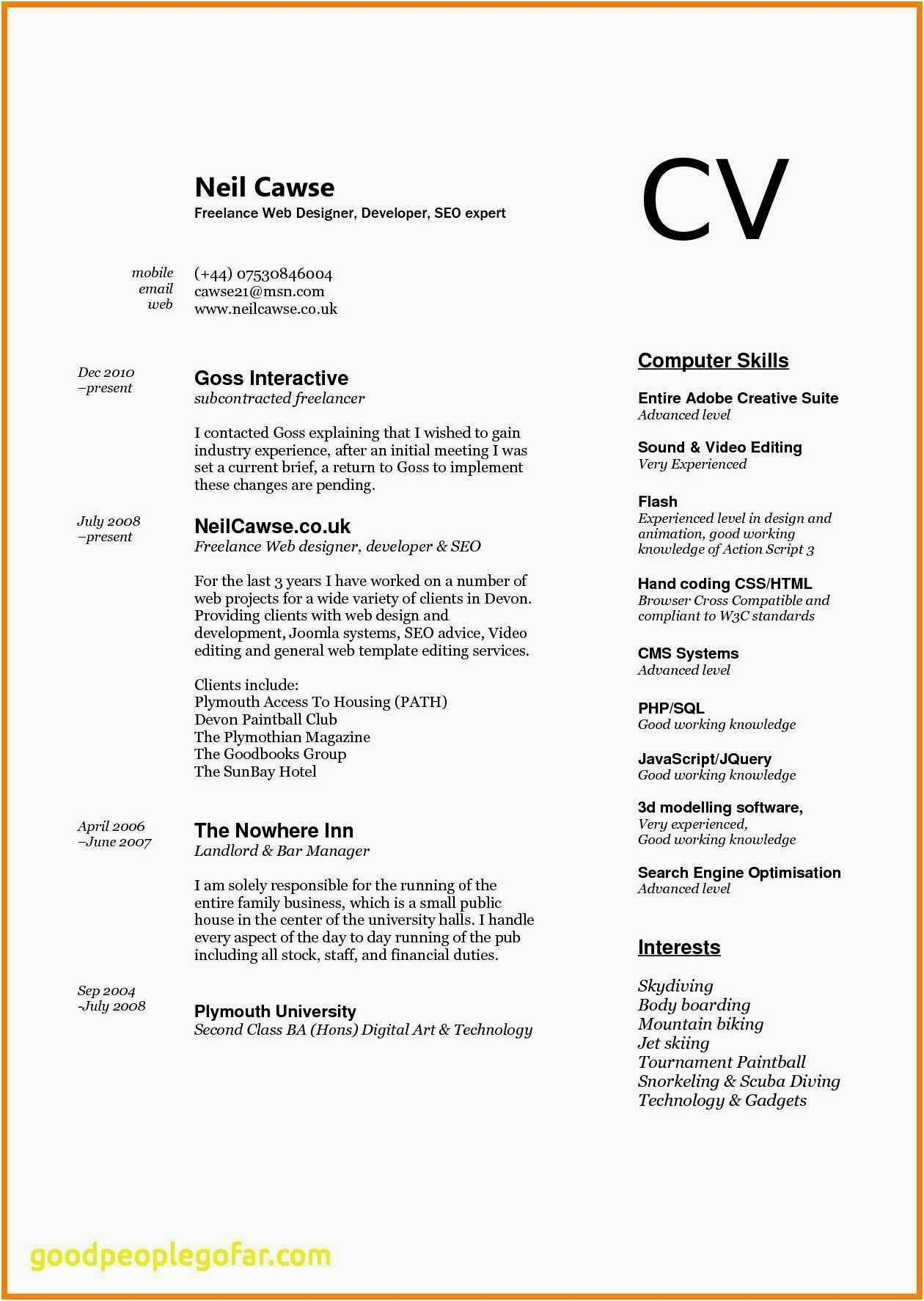 Computer Skills Resume Example Awesome Advanced Puter Of In