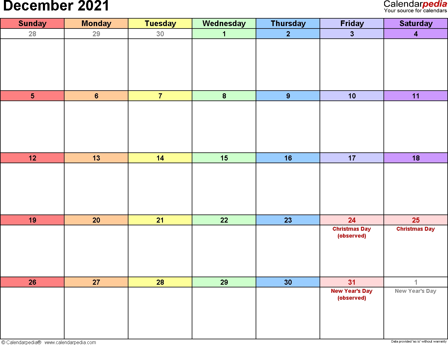 December 2021 Calendars For Word, Excel & Pdf