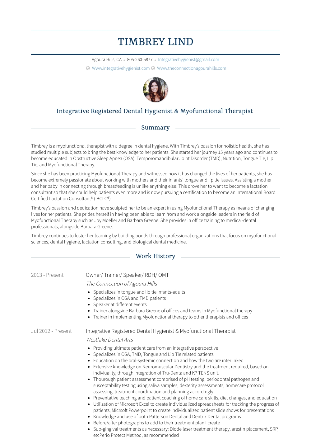 Dental Hygienist - Resume Samples And Templates | Visualcv