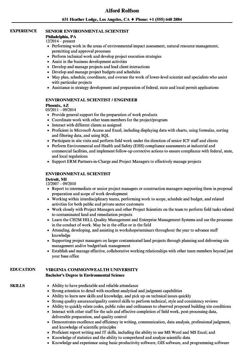 Environmental Scientist Resume Samples | Velvet Jobs