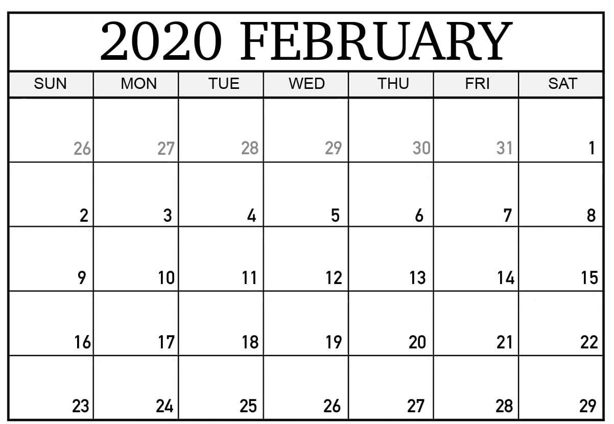 February 2020 Calendar | Printable Calendar Template, Excel