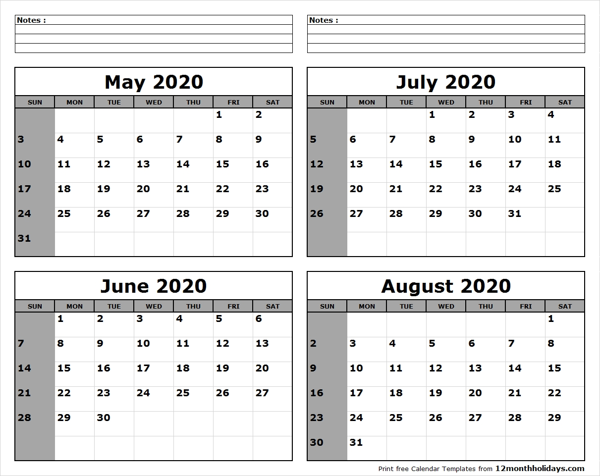 June Through August Calendar 2020   My Way Of Learning Is Design