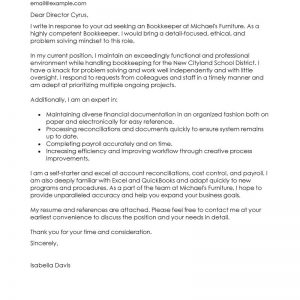 Leading Professional Bookkeeper Cover Letter Examples