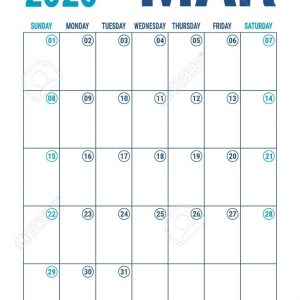 March 2020 Calendar. Blue Color Planner. English Calender Template