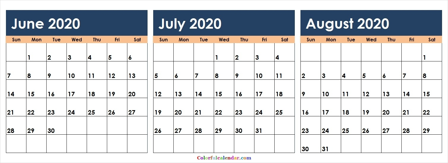 New June July August 2020 Calendar Colorful   Blank 2020