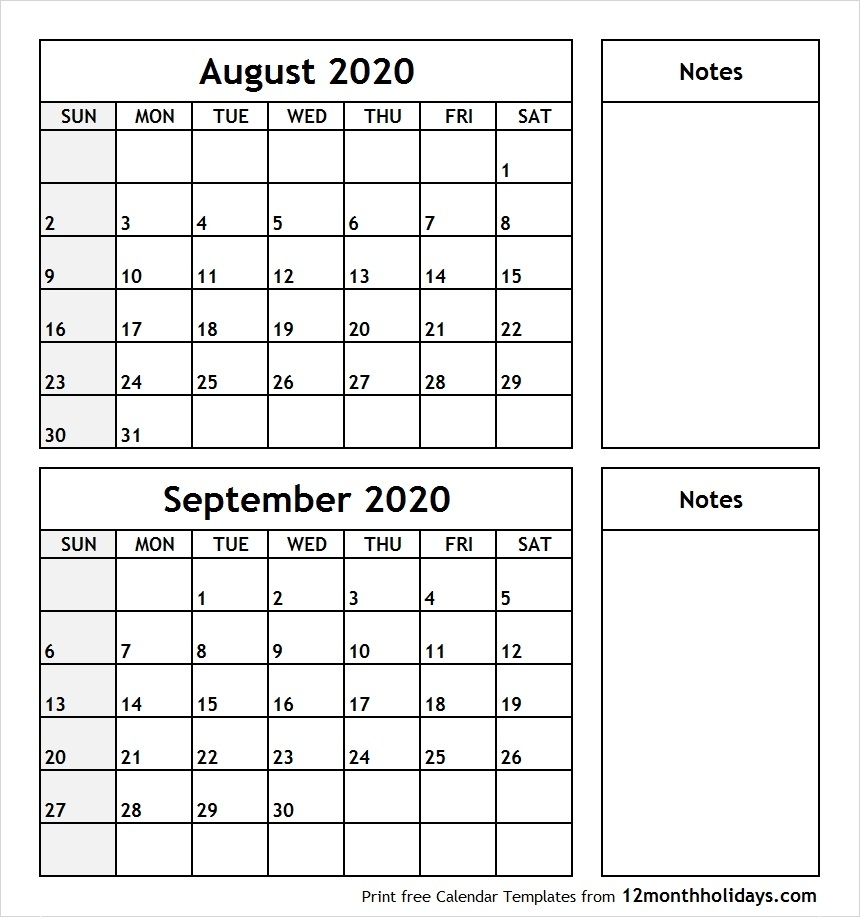 Print August September 2020 Calendar Template | 2 Month Calendar