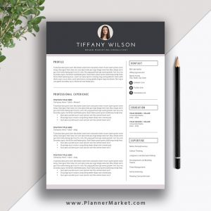 Professional Resume Template, Ms Word, Modern Cv Template, Creative Resume  Design, Cover Letter, Instant Download, The Tiffany Resume