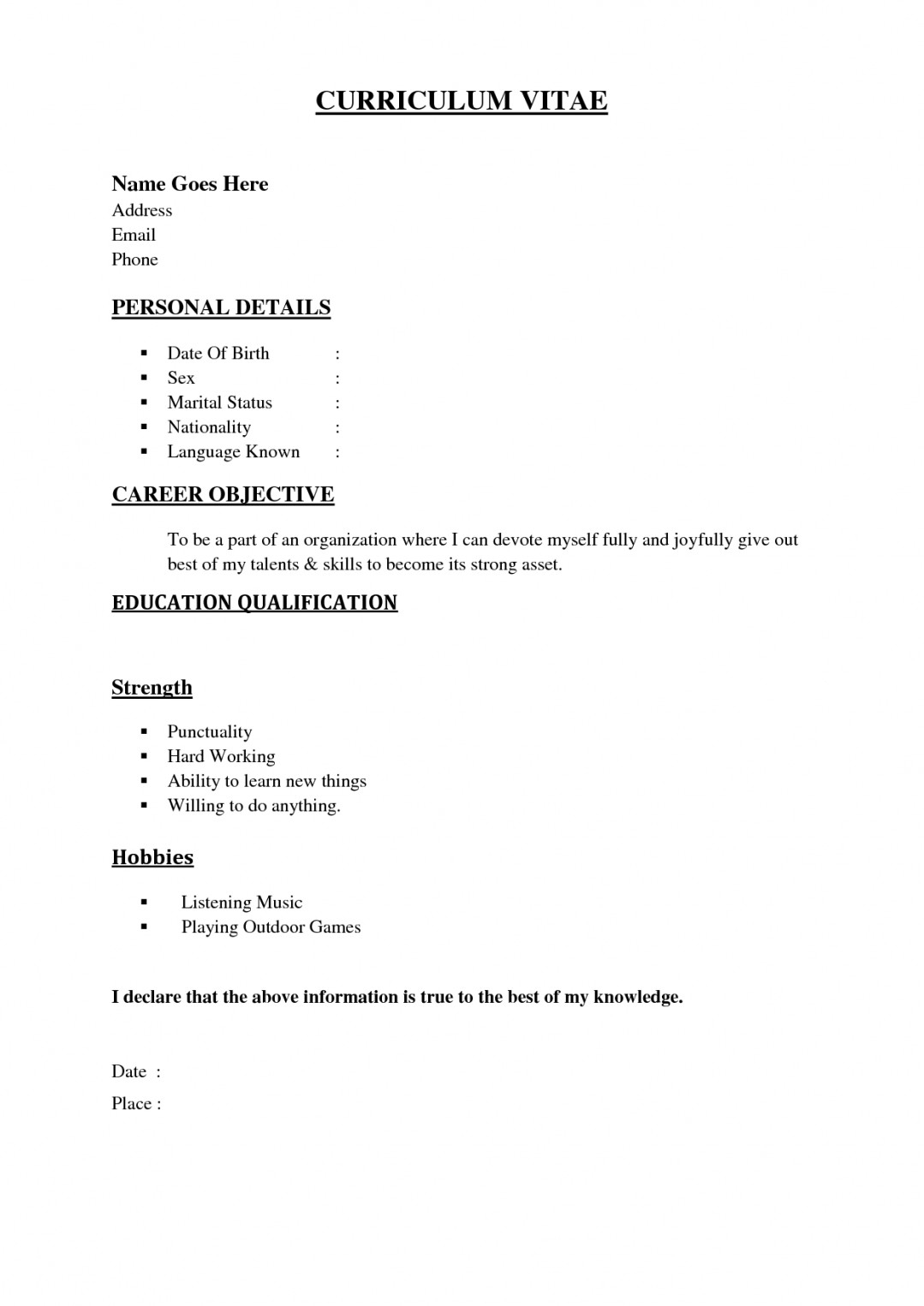 Resume ~ Basic Resume Outline Examples Easy Template Simple