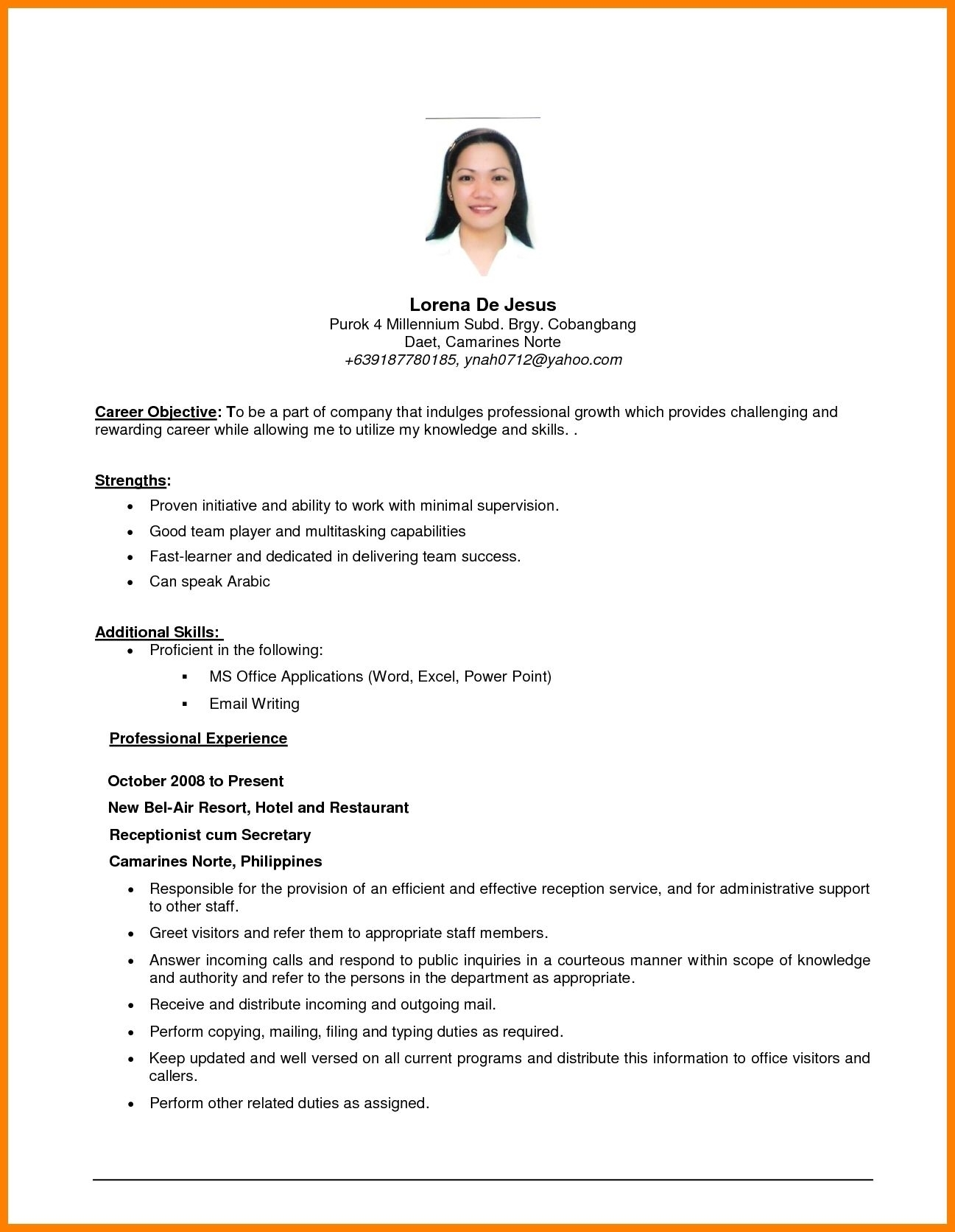 Resume ~ Resume Objective Template Coloring Example Of