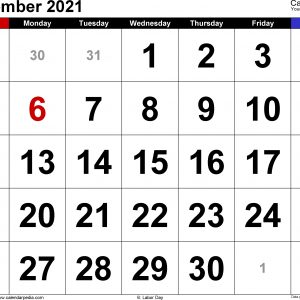 September 2021 Calendars For Word, Excel & Pdf