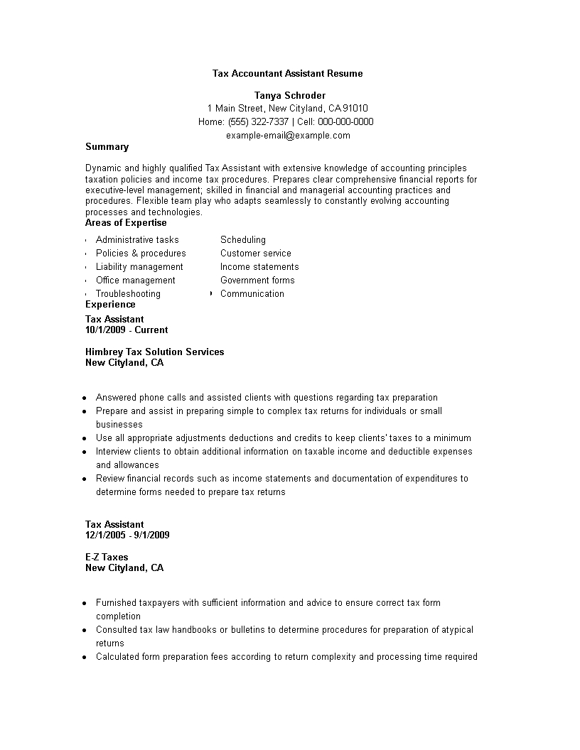 Tax Accountant Assistant Resume | Templates At
