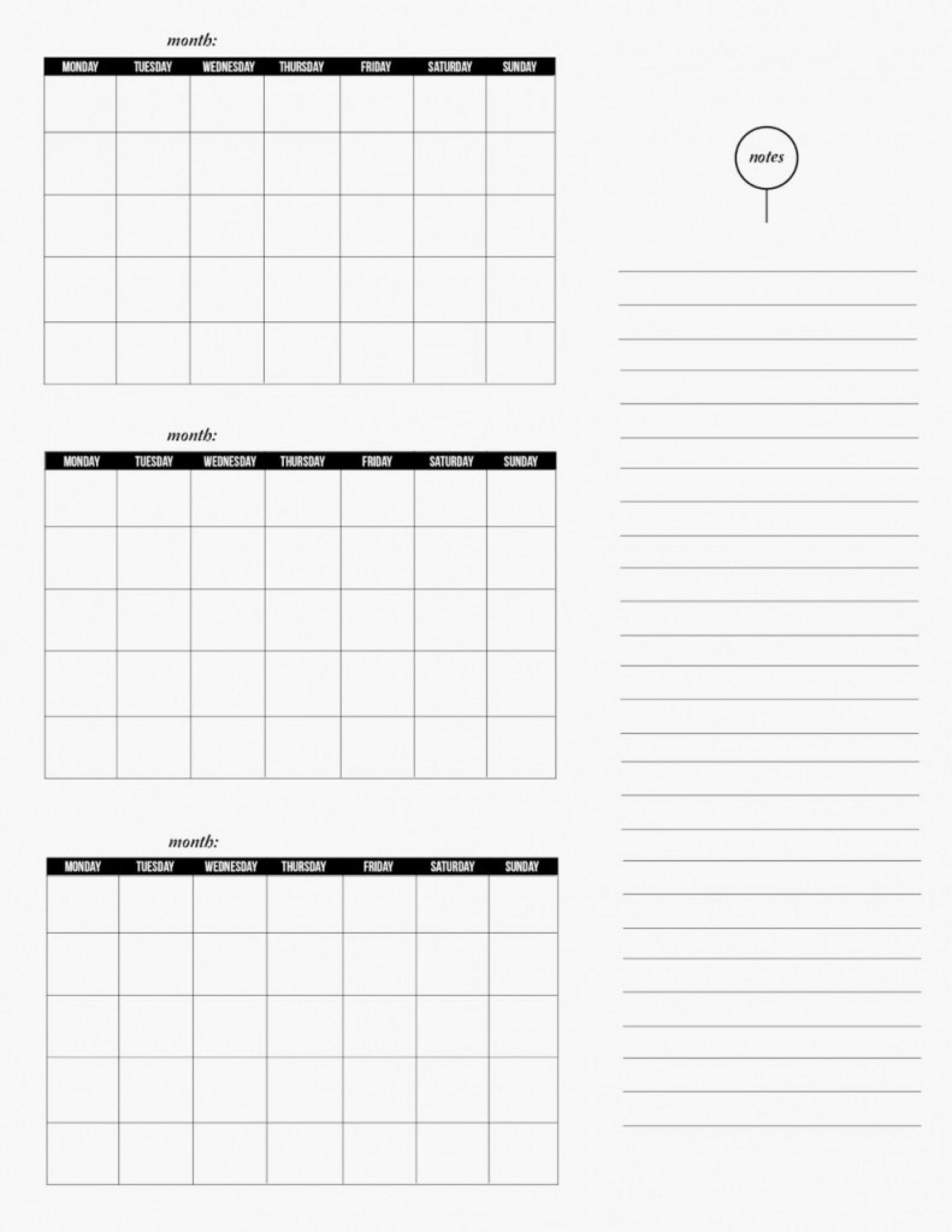 008 Three Month Calendar Free Printable With Word Template