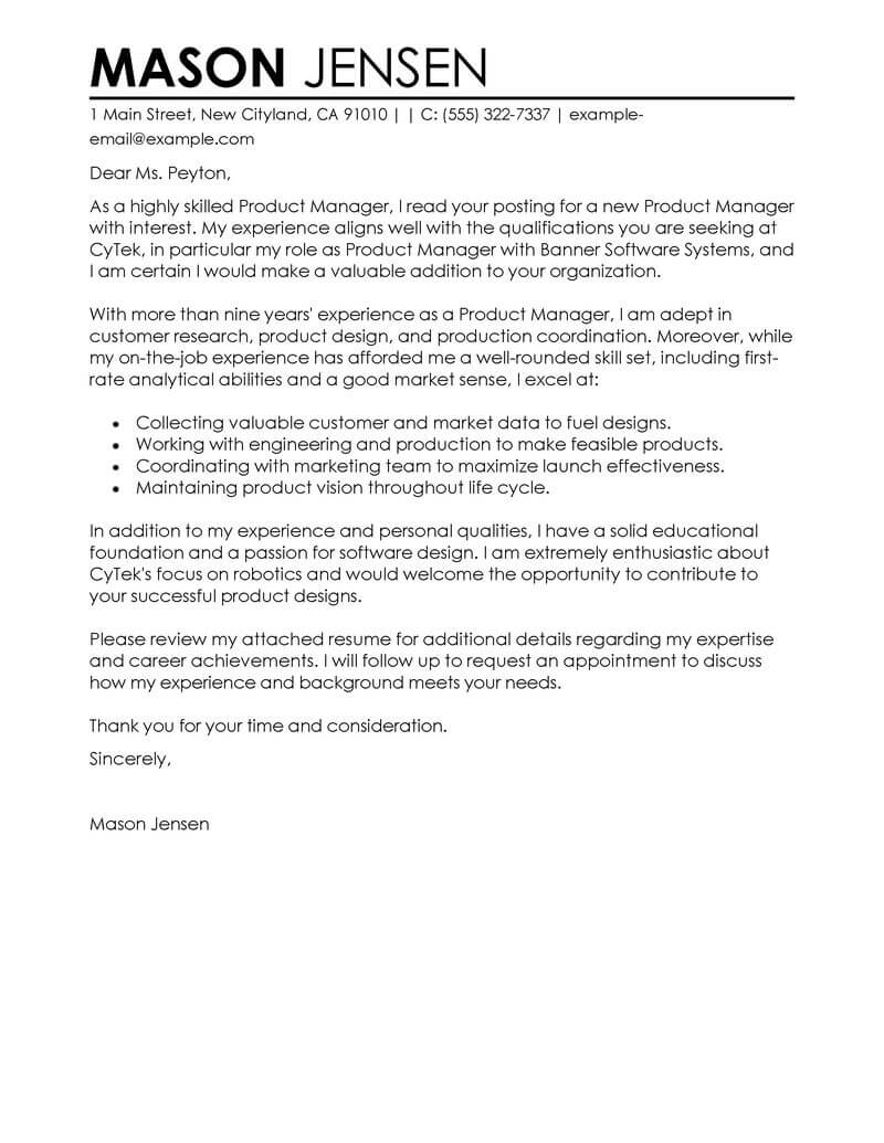 Best Product Manager Cover Letter Examples | Livecareer