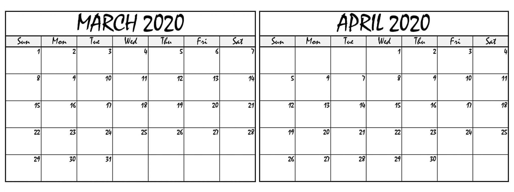March April 2020 Calendar Pdf With Notes - 2019 Calendars